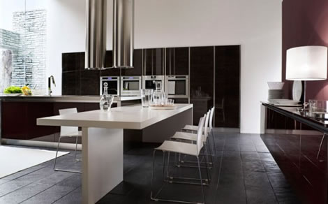 Elegant-sample-kitchen-with-stone-tiling-floor-white-table-and-chairs-with-wine-red-cabinets