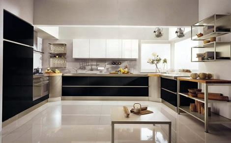 Elegant-kitchen-with-white-floor-with-black-cabinets-table-and-white-cabinets-shelves-and-sink